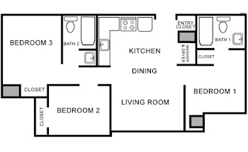 Go to Three Bed, Two Bath Furnished Floorplan page.