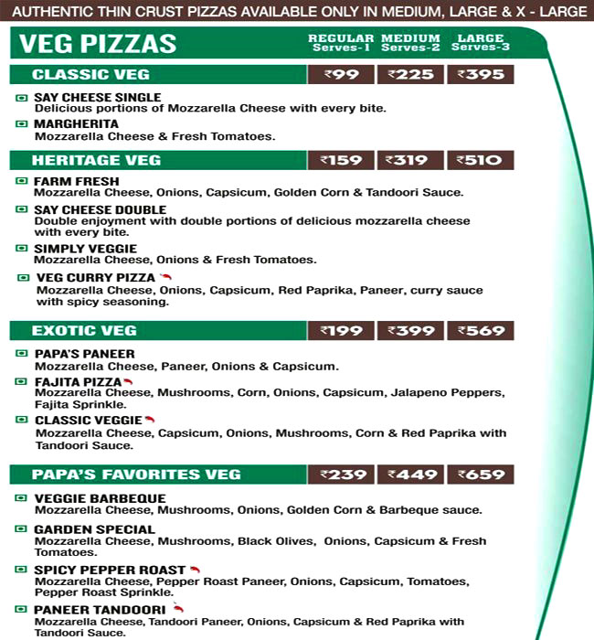 Papa John's Pizza menu 1