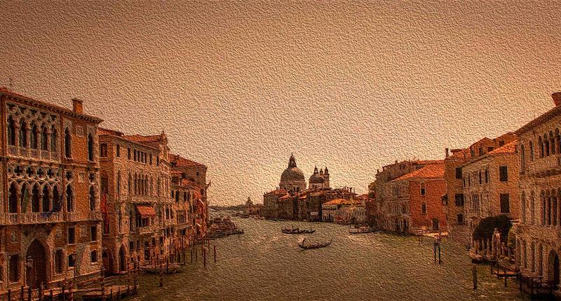 Canaletto - Il canal grande e la chiesa Santa Maria della salute di antoniod