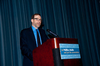 Photo: Stephen J. Adler addresses the participants at the RAND Politics Aside event.