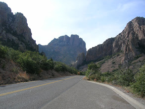 Photo: Robert gets his first glimpse of Casa Grande and the Chisos Mountains as we drive up to Panther Pass and down into The Basin.