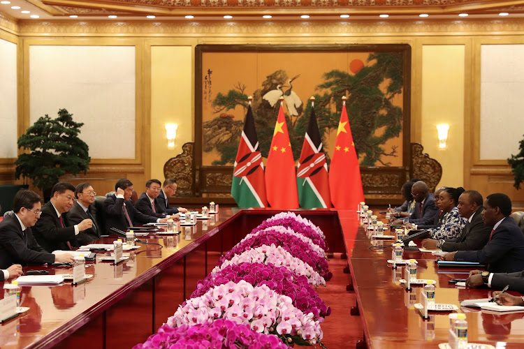 Kenyan President Uhuru Kenyatta and Chinese President Xi Jinping attend the meeting at the Great Hall of People in Beijing, China on April 25, 2019.