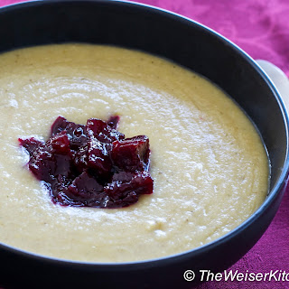 Parsnip Soup with Beet Marmalade.