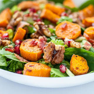 Roasted Sweet Potato Spinach Salad with Maple Walnuts and Bacon.
