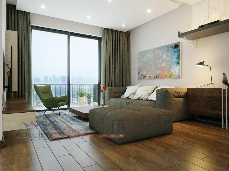 thiết kế phòng khách căn hộ 66m2