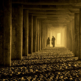 Pier at Huntington Beach by Gwen Paton - Buildings & Architecture Bridges & Suspended Structures ( huntington beach, pier, sunset, california, people,  )