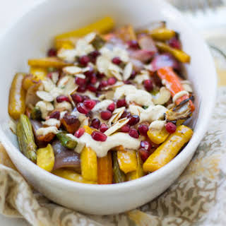 Pomegranate Roasted Vegetables with Tahini.