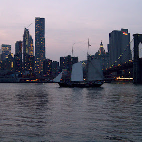 The Sunset Tour by Robert Barzallo - Transportation Boats ( tall ships, nyc sail ships, clipper city waterways tour, east river, nyc skyline,  )