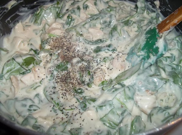 Stir in the spinach, cheese and pepper; cook for 1-2 minutes or until spinach...