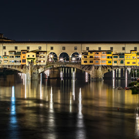 Ponte Vecchio at Night by Ryan Inhof - City,  Street & Park  Historic Districts ( night, nightscape, ponte vecchio, bridge, river, florence, italy )