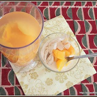 Peach Melba with Vanilla Ice Cream.