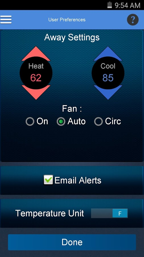 Aprilaire Wi-Fi Thermostat App- screenshot