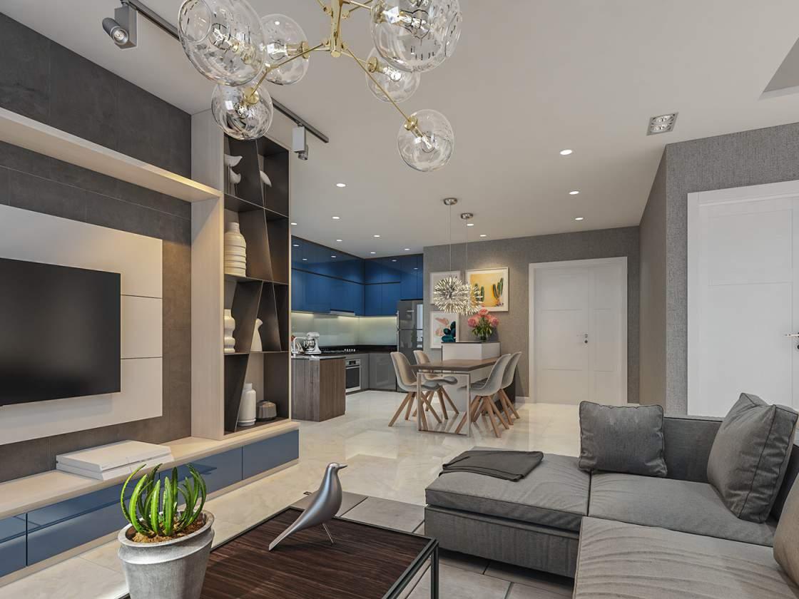 Thiết kế nội thất phòng khách đẹp cho gia chủ mệnh Thủy