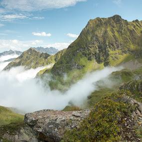 Mountains in mist by Twan Konings - Landscapes Mountains & Hills ( hills, mountains, landscape, austria, mist, alps )