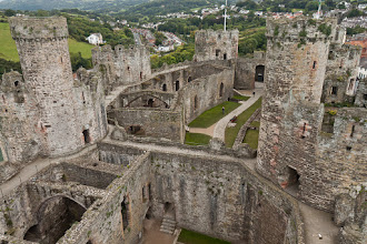 Photo: Looking down from one of the upper turrets of Conwy Castle