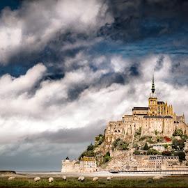Mont St Michel by Chris Martin - City,  Street & Park  Vistas ( france 2017, france, mont st michel,  )