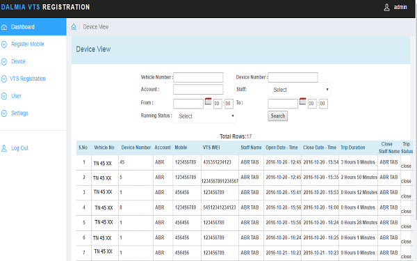 ABR VTS Registration- screenshot