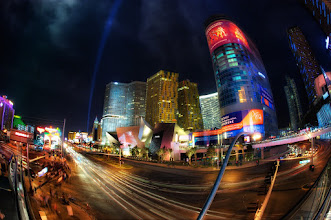 """Photo: The Forgotten Fisheye View of City Center  I don't take many photos using a fisheye lens. I have a good reason, too. It's because I don't own a fisheye lens. Apparently, I was in Las Vegas a year ago – with a fisheye. I say """"apparently"""" because I was digging through my travel library and found this shot. I don't really have any memory of being there at that time, or using a fisheye lens. Whatever I did, I hope to hell that I had fun doing it.  Please visit the blog at http://williambeem.com"""