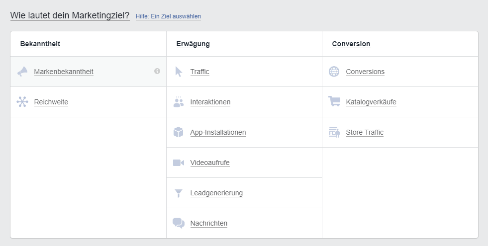 Facebook Ads Ziele