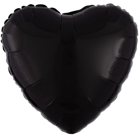 Folieballong, hjärta metallic svart 43 cm