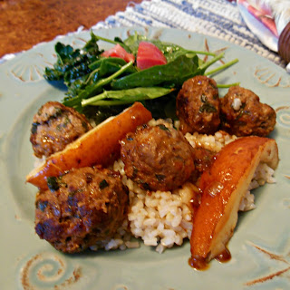 Savory Meatballs Glazed in Paprika Pear Sauce.