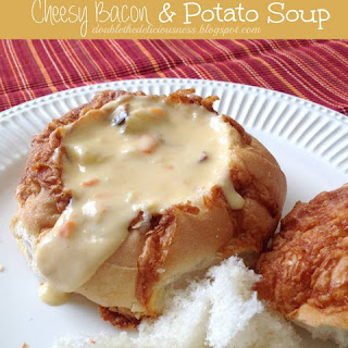 Cheesy Bacon Potato Soup in a Bread Bowl
