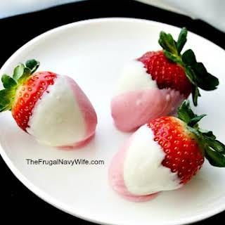 Pink and White Chocolate Strawberries.