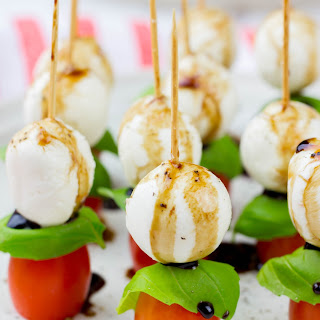Caprese Salad Skewers with Balsamic Drizzle.