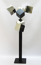 Photo: 30 REFLECTIONS AND A VOID - 58H X 26W X 24D Polished Stainless Steel, Painted Mild Steel, L Side View
