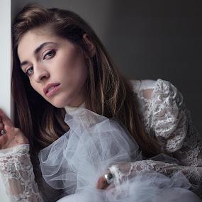 Bride by Livio Siano - Wedding Bride ( natural light, stairs, shadow, beautiful, beauty, bride, light )
