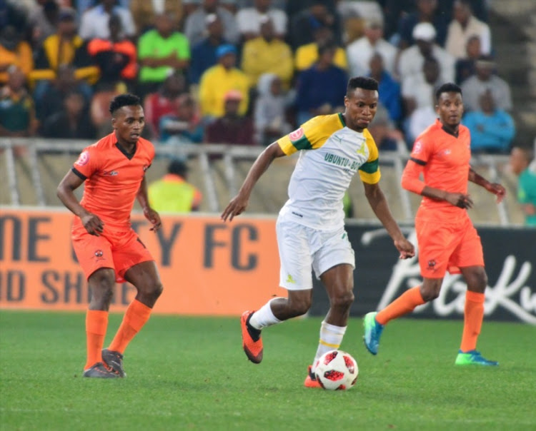 Themba Zwane of Mamelodi Sundowns during the Absa Premiership match between Polokwane City and Mamelodi Sundowns at Peter Mokaba Stadium on August 07, 2018 in Polokwane, South Africa.