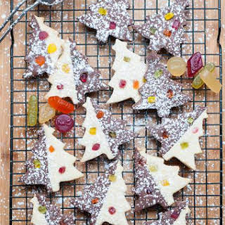 Brownie & Sugar Christmas Tree Cookies with Wine Gums.
