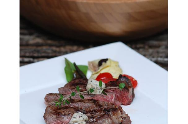Grilled Ribeye Steak with Black Truffle Butter Buttons Recipe