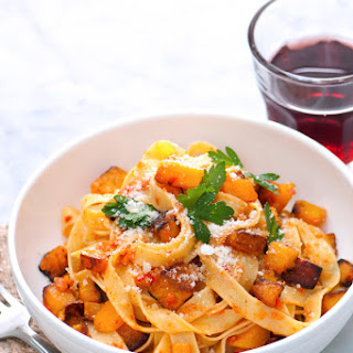 Spicy Fall Pappardelle Pasta with Pumpkin.