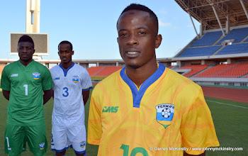 Photo: L-R: Olivier Kwizera (Goalkeeper);  Yannick Mukunzi; Haruna Niyonzima (Captain) - modelling the new Rwanda Amavubi Kit by AMS  [new goalkeeping; away and home kits by AMS are pictured at training camp ahead of Rwanda Amavubi v Mozambique, 13 June 2015  (Pic © Darren McKinstry / www.johnnymckinstry.com)]