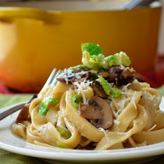 Fettuccine with Mushrooms and Brussels Sprouts