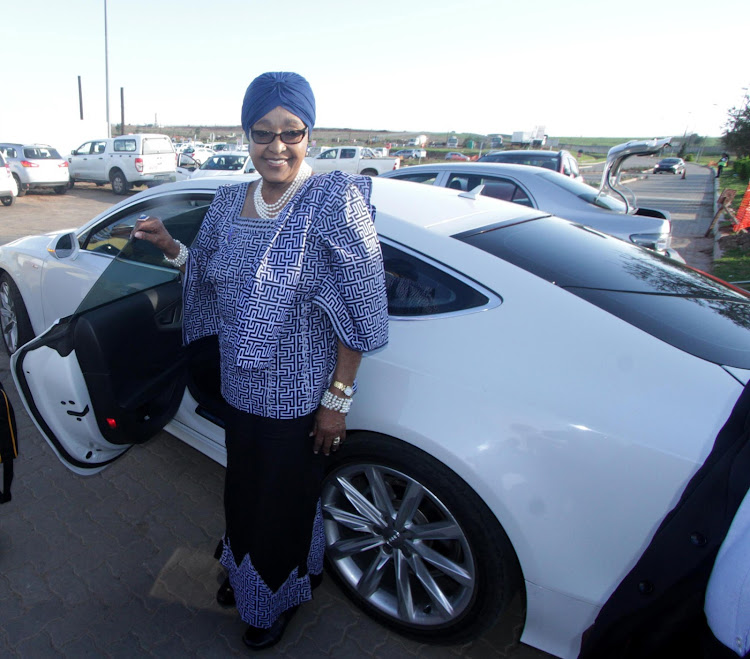 Nelson Mandela's ex-wife Winnie Madikizela-Mandela at Mthatha Airport on December 7, 2014 in Mthatha, South Africa.