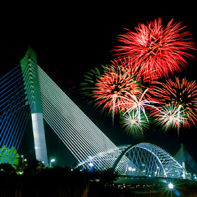 ::: PJ Bridge and Fireworks Above ::: by Muhammad Irwansyah - Buildings & Architecture Bridges & Suspended Structures