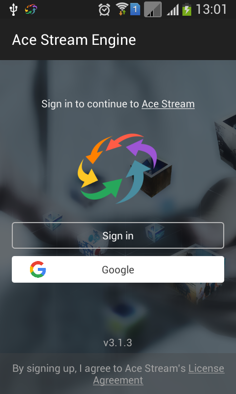 Ace Stream Media (Beta): captura de pantalla