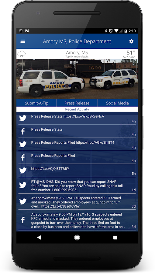 Amory MS Police Department- screenshot