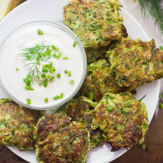 Vegan Zucchini Fritters with Garlic & Dill.