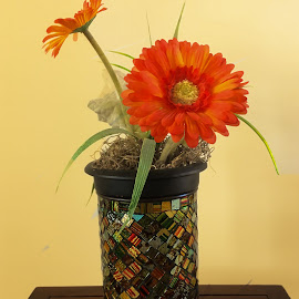Happiness by Dee Haun - Artistic Objects Glass ( orange flower, multicolored, glass chips, 190110t3345c1e2, mosaic, glass mosaic, artistic object, vase, iphone 5s,  )