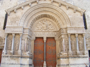 Photo: Madame Saulnier said that for history, the city to see in Provence besides Avignon would be Arles, and off we go. We arrive first at the Église St-Trophime, with this renowned carved doorway from the late 12th century, in late Provençal Romanesque style.
