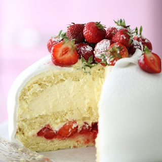 White Strawberry Princess Cake.