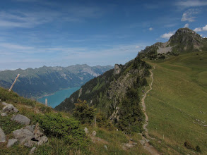 Photo: The spectacular trail follows a ridge high above the two lakes.