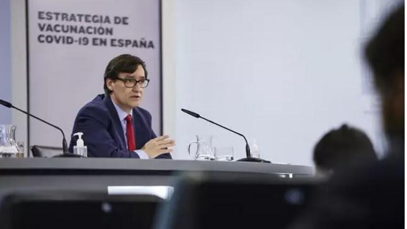 El ministro de Sanidad, Salvador Illa, interviene durante una rueda de prensa.