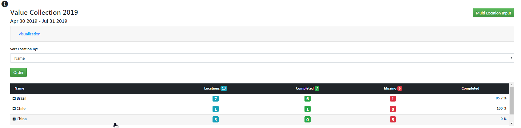 """Screendump: Press """"Input values"""" to go to your list of locations. Select the company and location to fill."""