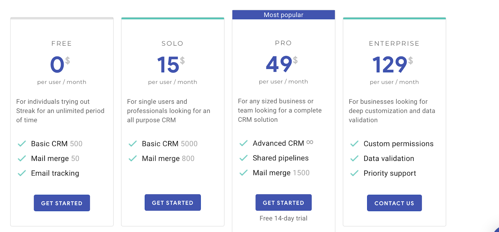 Streak Gmail CRM pricing table