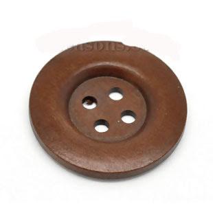 Brun träknapp, 40 mm