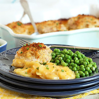 Crispy Baked Chicken Thighs with Scalloped Potatoes.